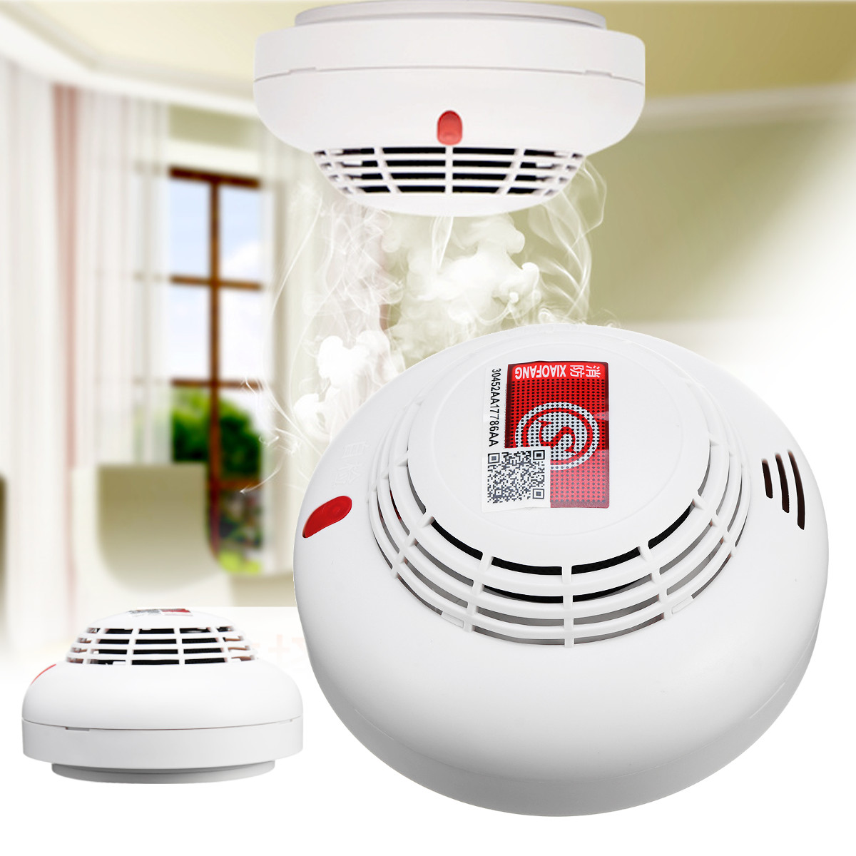 Photoelectic Smoke Detector Fire Sensor Alarm Battery Operated Home Security