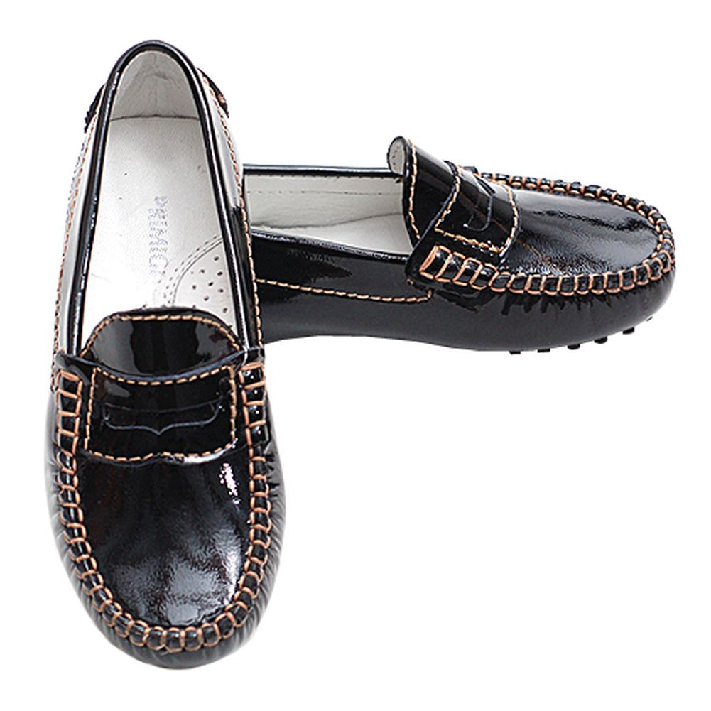 Primigi Black Patent Contrast Stitch Driving Shoes Toddler Girls 7.5-6 by Primigi