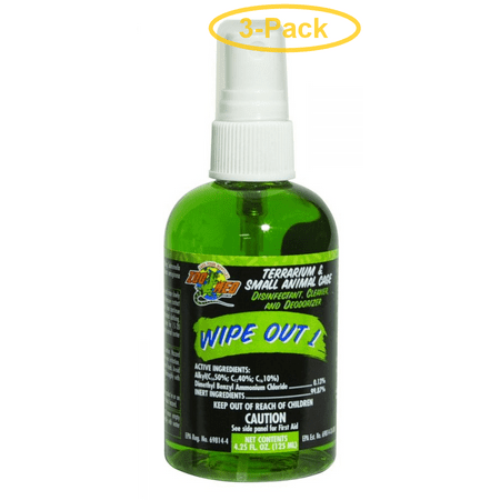 Zoo Med Wipe Out 1 - Small Animal & Reptile Terrarium Cleaner 4.25 oz - Pack of 3
