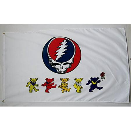 Rock Flag Grateful Dead Dancing Bears 100% Polyester Water Resistant 3 x 5 Feet](Chicago Bears Flag)
