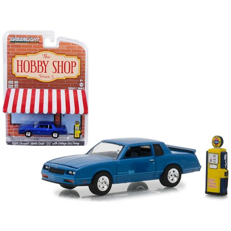 1984 Chevrolet Monte Carlo SS Blue with Vintage Gas Pump