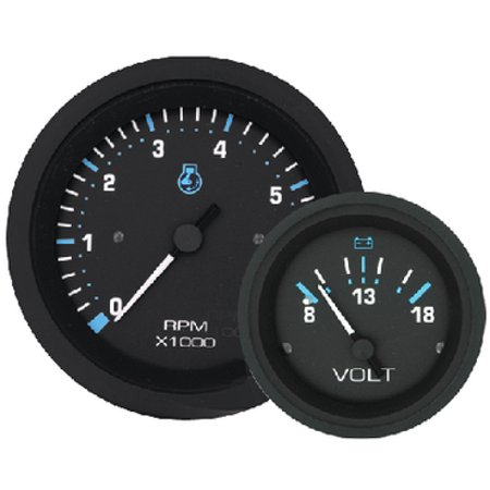Sierra 69725P Eclipse Series Black Outboard 2 Set with Tachometer and Voltmeter