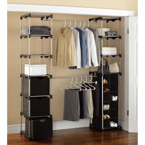 Mainstays Closet Storage, Silver/Black