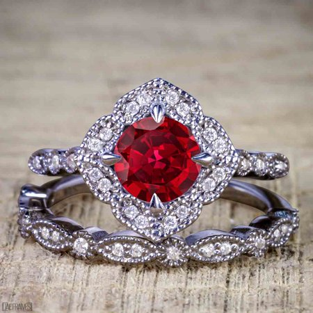 Black And Gold Wedding (Artdeco scalloped 2 Carat Ruby and Diamond Wedding Ring Set for Women in Black)