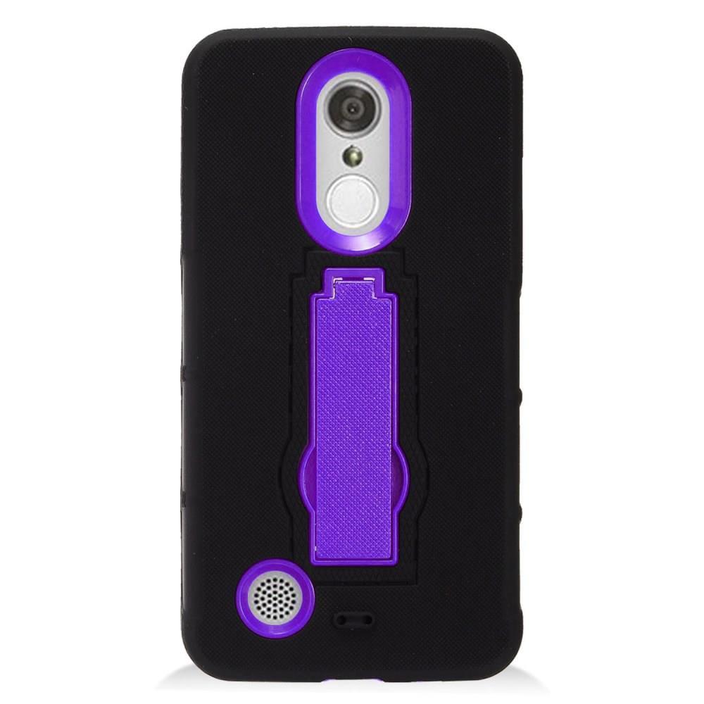 For LG Aristo LV3 / LG Rebel 2 / LG K8 2017 Case Symbiosis Armor Hybrid Silicone Phone Cover w/ Stand (Purple/Black)