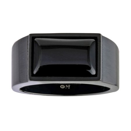 Metro Jewelry Black Ion Plated Stainless Steel Ring Black Agate