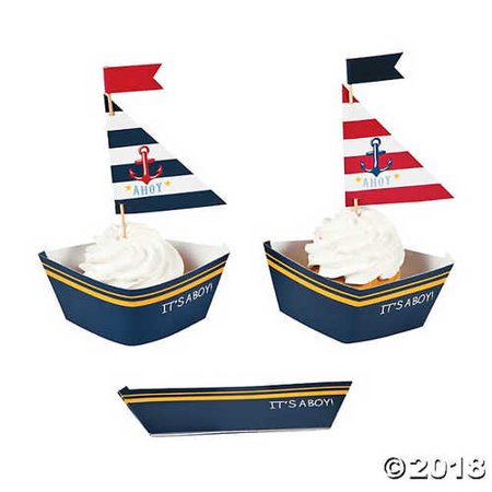 Nautical Baby Shower Cupcake Wrappers with Picks - Nautical Cupcake Wrappers