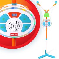 Kids Karaoke Machine and Music Player with Two Mics, Bluetooth and Aux Connectivity, LED Lights, and Sound Effects …