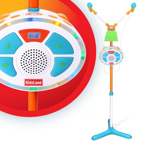 Kids Karaoke Machine and Music Player with Two Mics, Bluetooth and Aux Connectivity, LED Lights, and Sound Effects (Gpx Karaoke Machine With Led Light Effects)