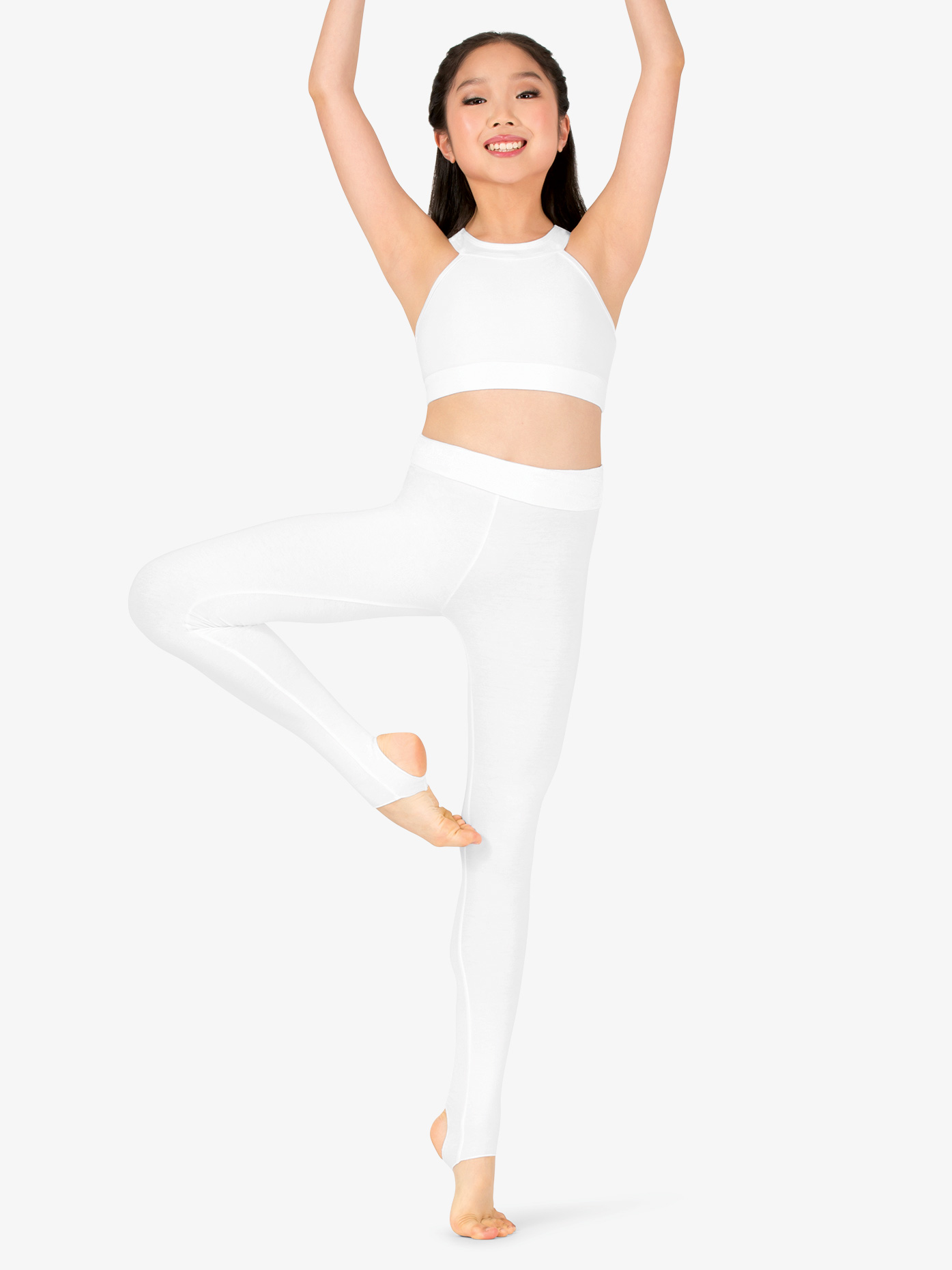 Girls Sueded Cotton Basic Dance Stirrup Leggings
