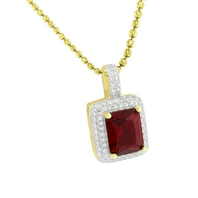 Garnet Ruby Solitaire Pendant Gold On 925 Silver Simulated Diamond Free Necklace   1345