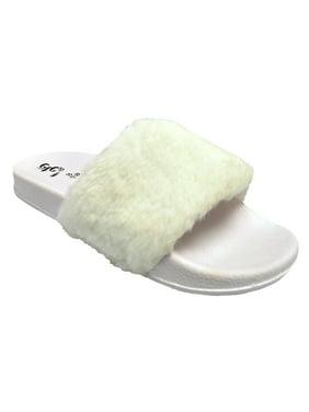 Women's Slides Flip Flop Faux Fur Soft Slide Flat Slipper Casual Fashion