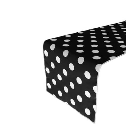 Cotton Print Table Runner Polka Dots White on Black Printed Table Runner