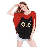Women's Cat Prints Dolman Sleeve Loose Fit Summer Tops Red (Size XL / 16)