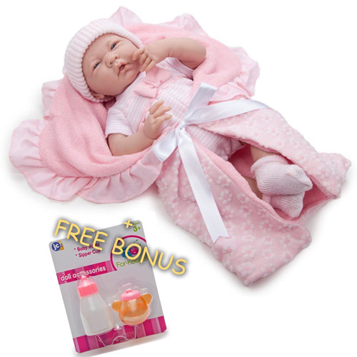 "15.5"" Deluxe Realistic Baby Doll + Free Bonus: Magic Bottle and Sippy Cup by JC Toys Group%2C Inc."