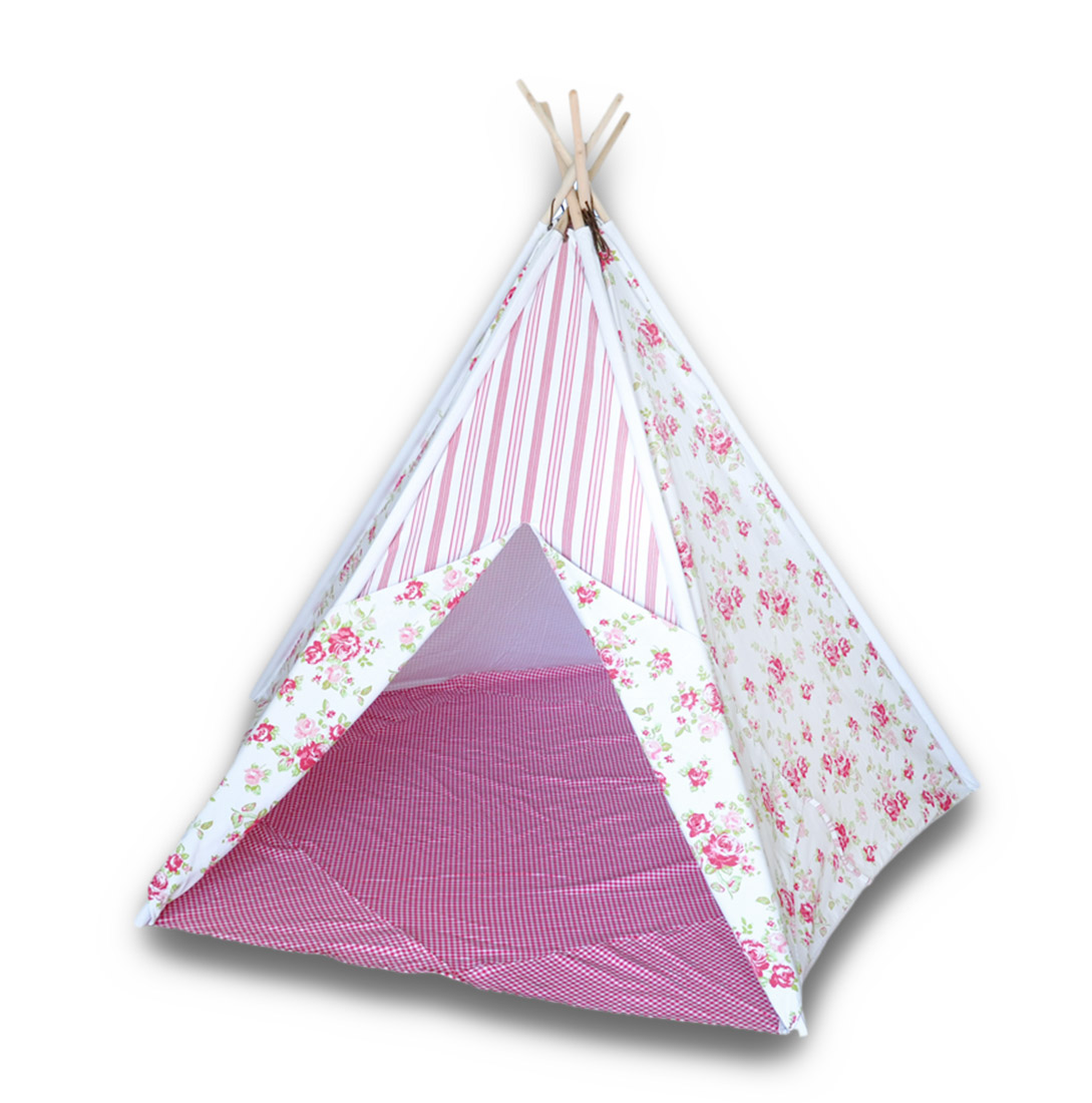 Children`s Canvas Teepee Tent Pink and White Flowers/Stripes/Dots 72 In.