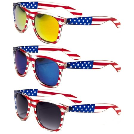 V.W.E.  Classic American Patriot Flag Mirror Sunglasses USA - Clear (Clear Frame Mirrored Sunglasses)