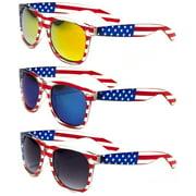 V.W.E.  Classic American Patriot Flag Mirror Sunglasses USA - Clear Frame