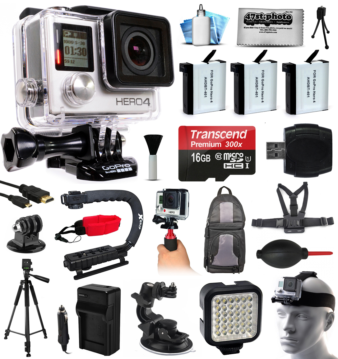 GoPro HERO4 Silver Edition 4K Action Camera with 16GB MicroSD, 3x Batteries, Charger, Card Reader, Backpack, Chest Harness, Action Handle, Tripod, Car Mount, LED Light, Helmet Strap, Dust Cleaning Kit