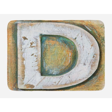 Letter C Bath Mat, Rustic Initials C Capital Letter Name with Old Fashion Grunge Effects, Non-Slip Plush Mat Bathroom Kitchen Laundry Room Decor, 29.5 X 17.5 Inches, Pale Orange Green White, Ambesonne ()