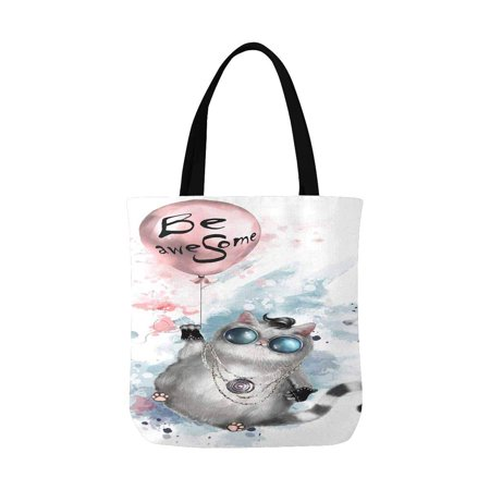 ASHLEIGH Illustration of a Cute Cat in Rocker Style Reusable Grocery Bags Shopping Bag Canvas Tote Bag Shoulder Bag
