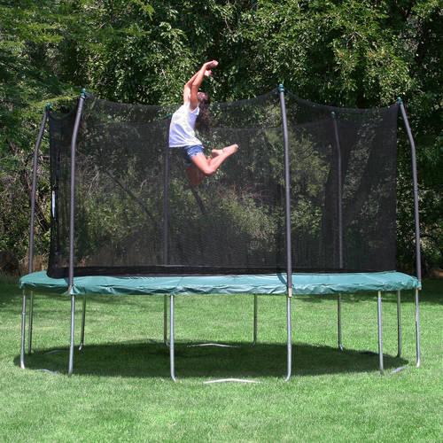 Skywalker Trampolines 15' Round Trampoline and Enclosure - Green