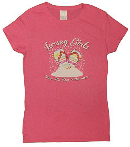 Jersey Girls Wear Flip Flops in the Snow Ladies T-Shirt by