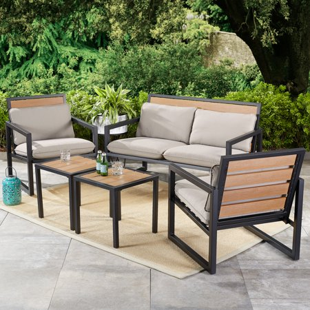 Mainstays Lindholm Way 5 Piece Patio Seating And Table Set With Gray  Cushions