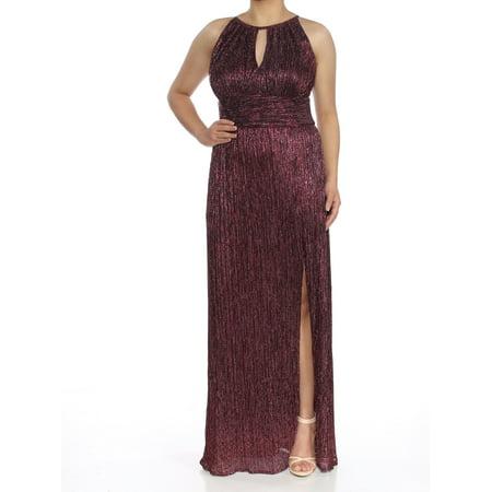 R&M RICHARDS Womens Red Shimmery Sleeveless Keyhole Full-Length Sheath Formal Dress  Size: 6](Shimmery Dress)