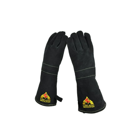 Versatile Welding BBQ Oven Gloves with Premium Cowhide Leather and Kevlar Stitching - Heat Fire Resistant up to 932 F, 16