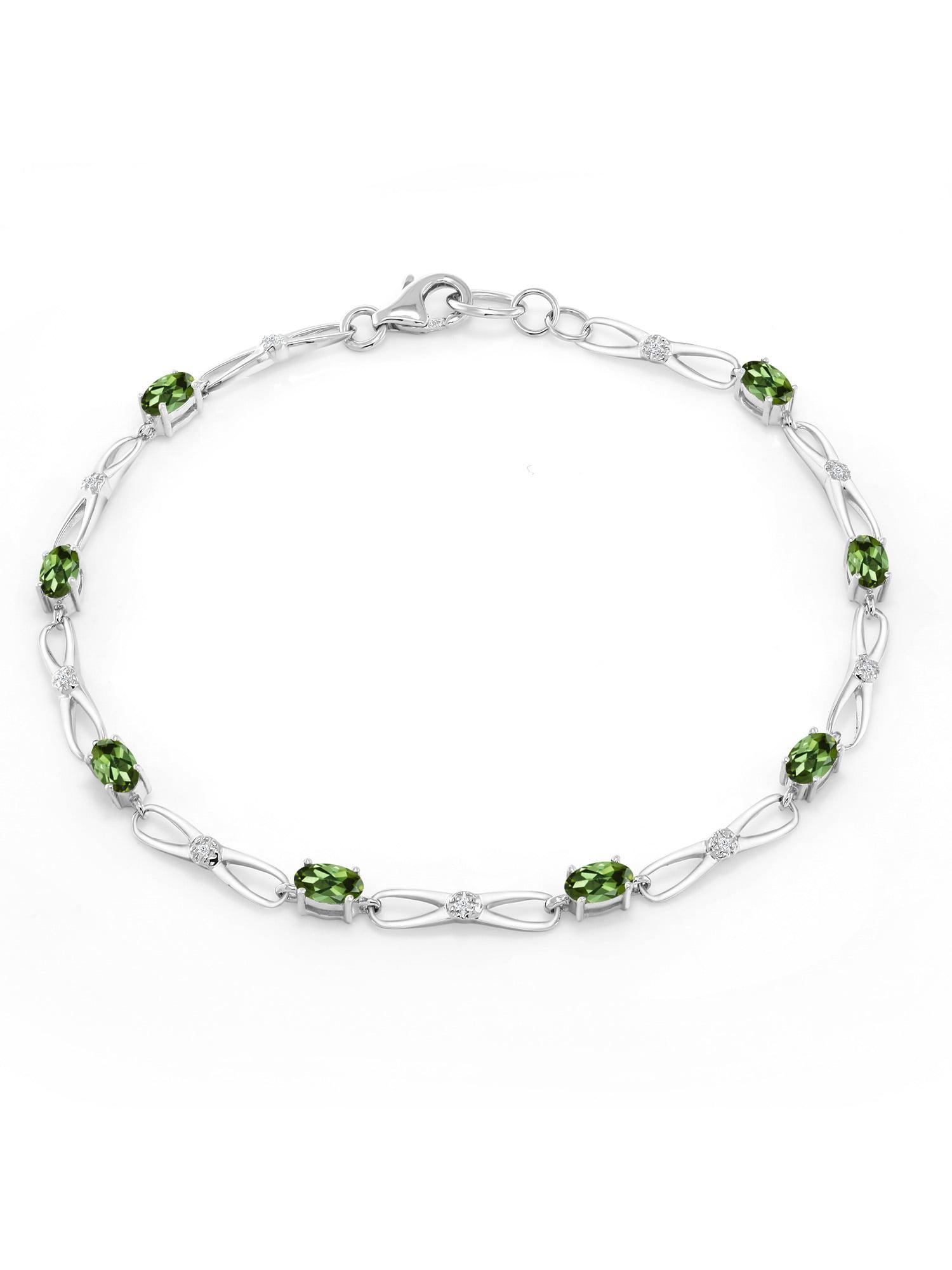 0.06 Ct Oval Green Tourmaline White Diamond 10K White Gold Bracelet by