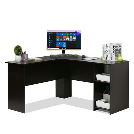 Furinno Indo L-Shaped Desk with Bookshelves, Espresso