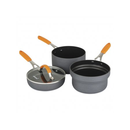 Allrecipes 4 Piece Hard Anodized Non Stick Stackable Cookware Sauce And Fry Pan Cooking Set