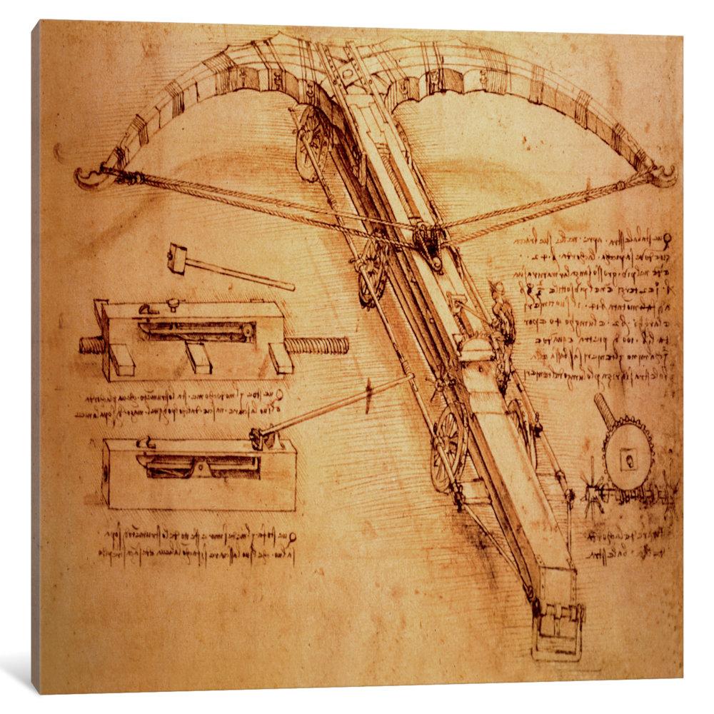 iCancas Giant Catapult, c. 1486 Gallery Wrapped Canvas Art Print by Leonardo da Vinci