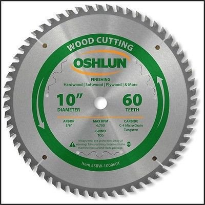 "10"" 60T Triple Chip Grind Carbide Tip Wood Cutting Saw Blade"