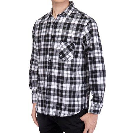 2365680605023 SAYFUT - Men's Long Sleeve Plaid Shirts Casual Flannel Shirt Button Down  Slim Fit Shirts For Men Outfit Workshirt Black/Red/Blue L-4XL - Walmart.com