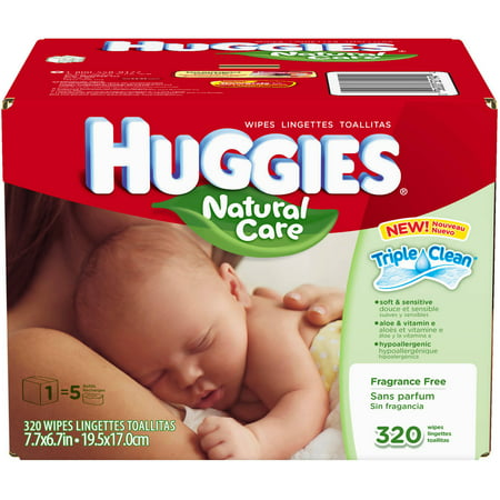Huggies - Natural Care Fragrance Free Hypoallergenic Baby Wipes Refill Box, 320 count