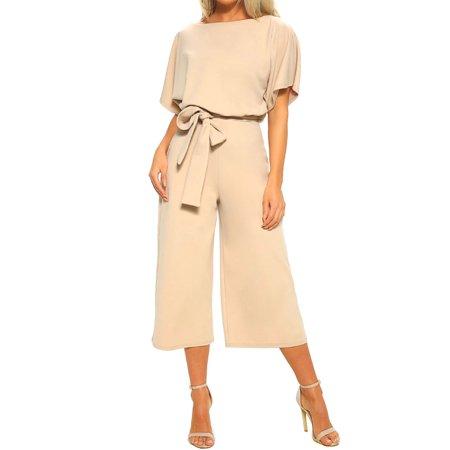 Women Back Button Playsuit Wide-Leg Short Sleeve Tie Elastic Waist Cropped Pants Jumpsuit (Button Romper)
