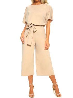 790c82415c0b1 Product Image Women Back Button Playsuit Wide-Leg Short Sleeve Tie Elastic  Waist Cropped Pants Jumpsuit Rompers