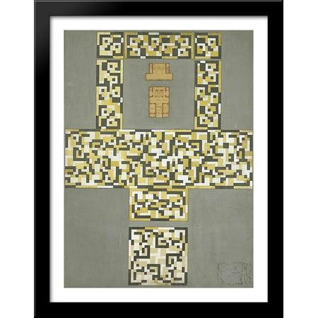 - Design for a tile floor, and entrance hall 28x36 Large Black Wood Framed Print Art by Theo van Doesburg