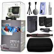 GoPro Hero 4 HERO4 Silver CHDHY-401 with Two Extra Batteries + Travel Charger + Premium Case + Lens Cleaning Pen + Cleaning Kit