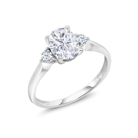 10K White Gold Ring Forever Brilliant GHI Oval Created Moissanite 1.50ct DEW (Ghd Oval)
