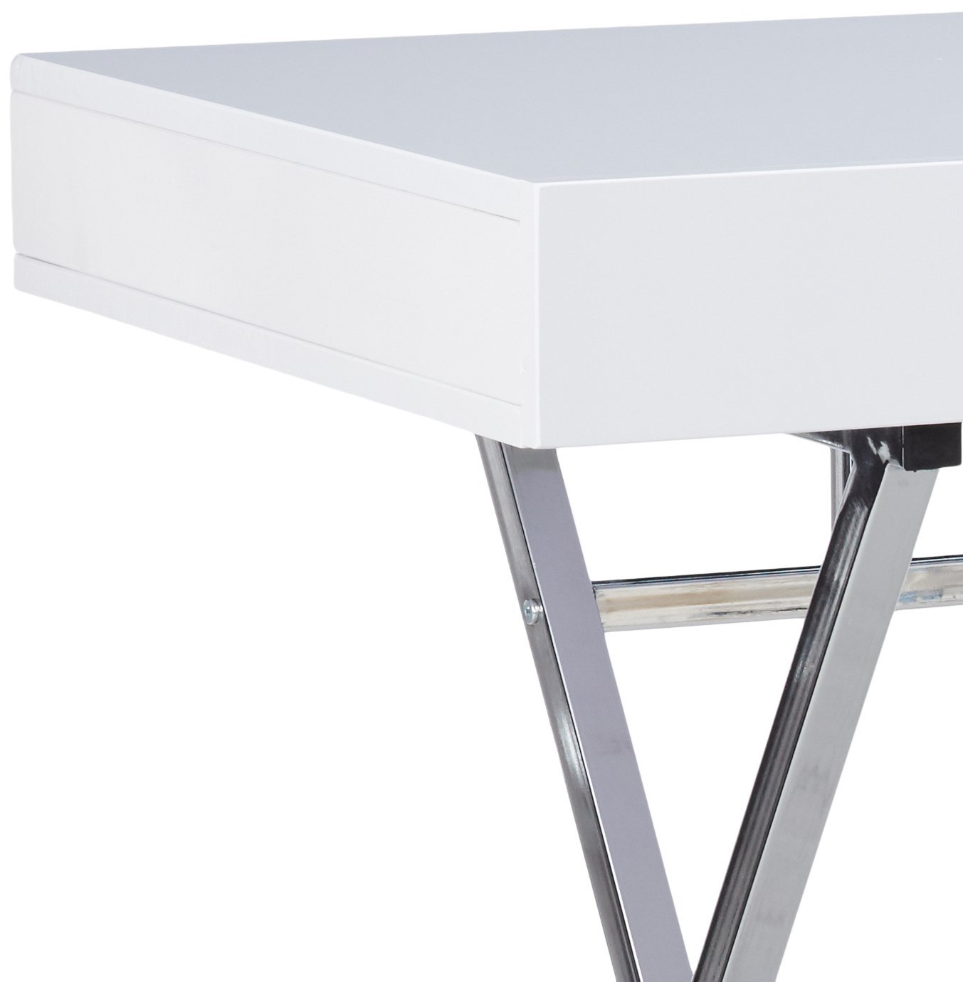 Kings Brand Furniture Contemporary Style Home Office Desk White Chrome Com