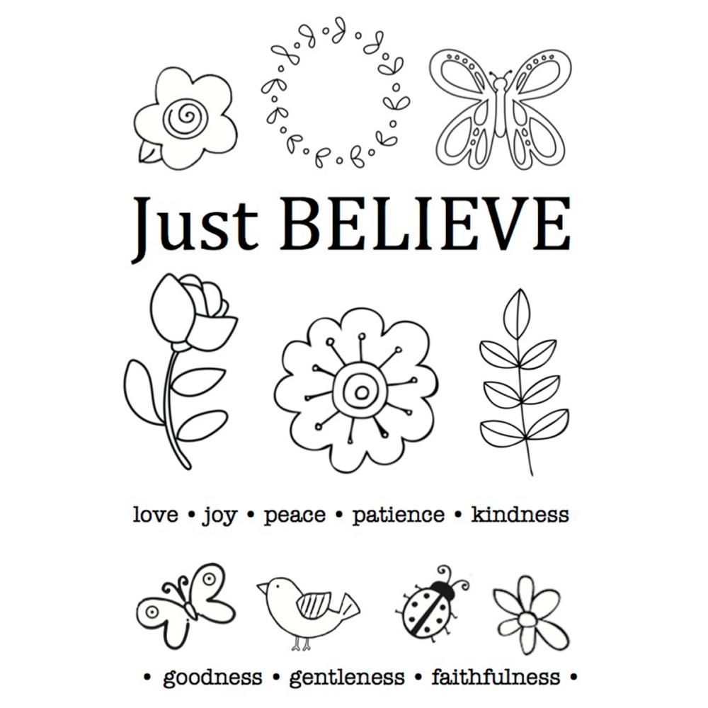 SRM Bible Journaling Clear Stamps 4 Inch X 6 Inch-Just Believe