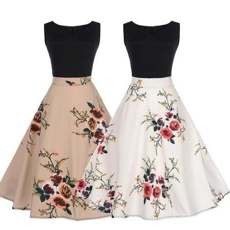 Womens Elegant Vintage Floral Print Sleeveless Rockabilly Rose Printed Retro Evening Party Gown Swing Pleated (Retro Print Sleeveless)