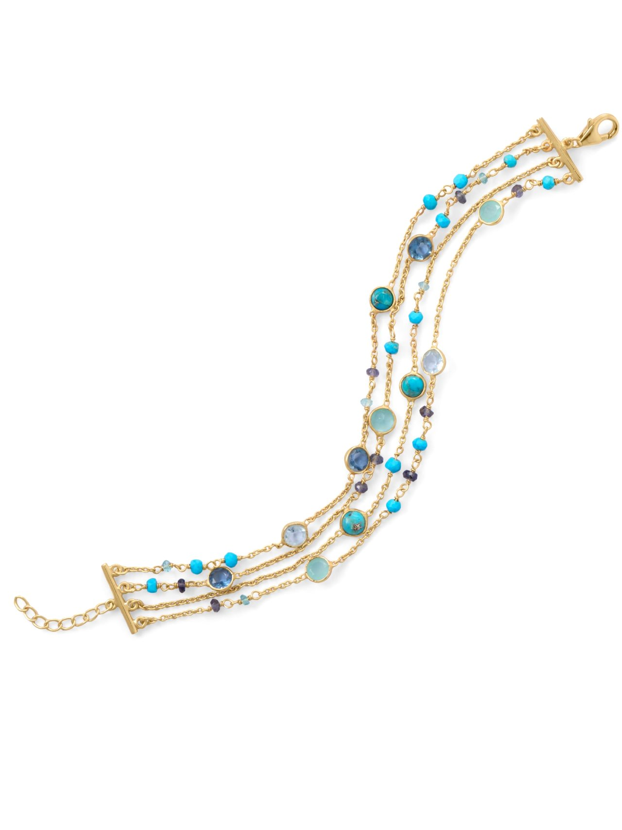 Four-Layer Chain Bracelet Multiple Gemstones Gold-plated Sterling Silver by unknown