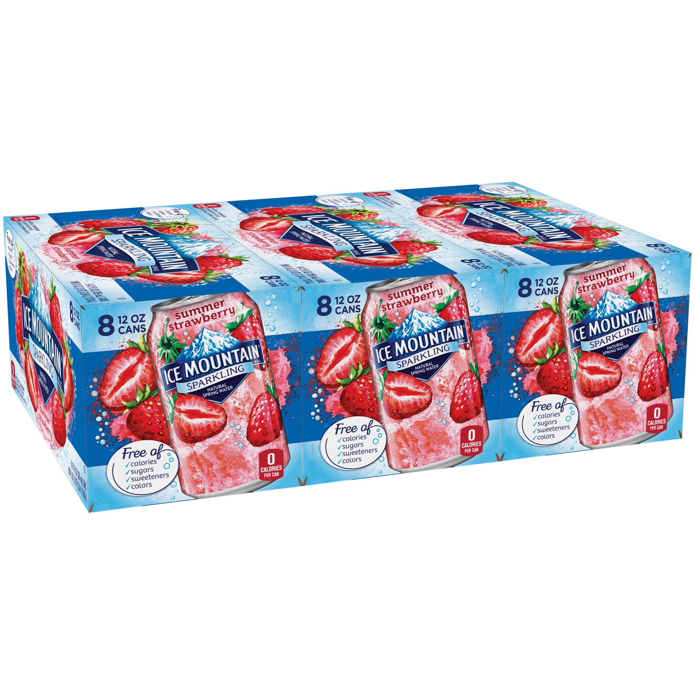 Ice Mountain Sparkling Water, Summer Strawberry, 12 oz. Cans (Pack of 24)