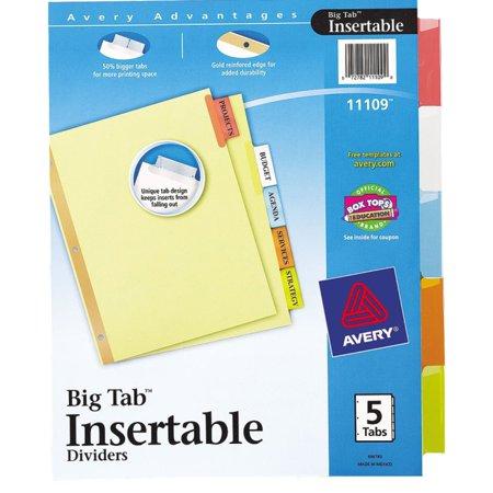 Avery Worksaver Big Tab Insertable Dividers 11109 5 Tab Set 5