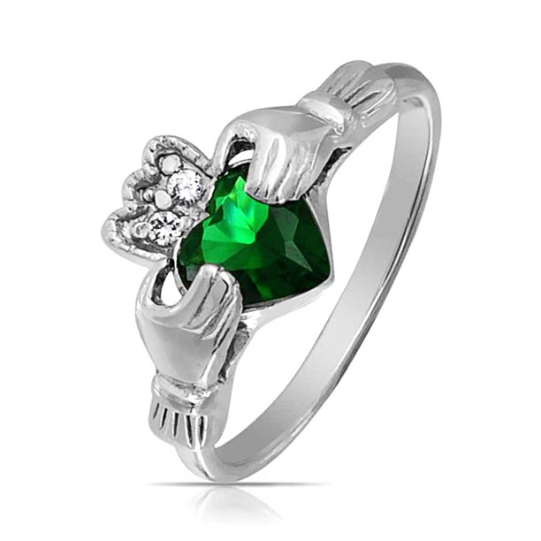 BFF Celtic Irish Friendship Promise CZ Green Simulated Emerald Heart Claddagh Ring For Women 925 Sterling Silver