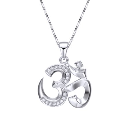 Jewel Zone Us Om Ohm Aum Symbol Pendant Necklace 14k White Gold Over Sterling Silver